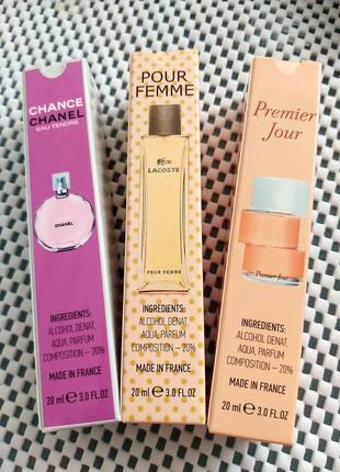 Набор пробников: 3 шт по 20 мл, духи, парфюм, тестер, аромат, premier jour, pour femme,  chance