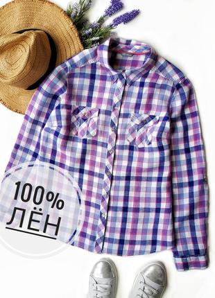 Стильная льняная рубашка в клетку marks&spencer.