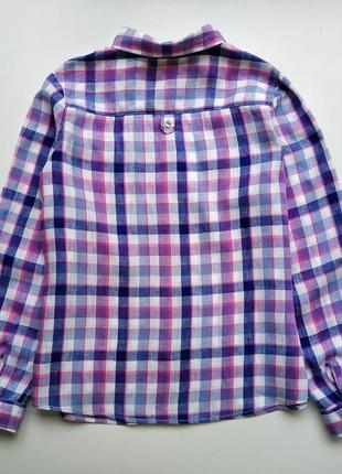 Стильная льняная рубашка в клетку marks&spencer.4 фото