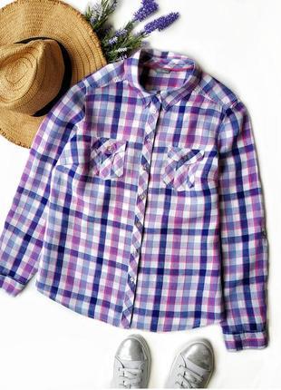 Стильная льняная рубашка в клетку marks&spencer.2 фото