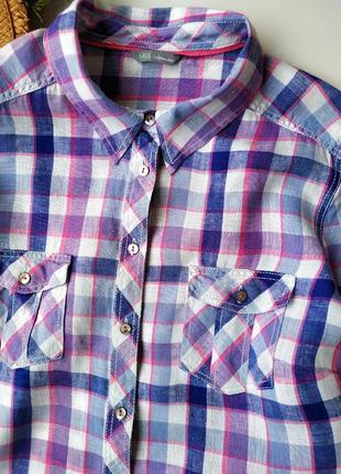 Стильная льняная рубашка в клетку marks&spencer.3 фото