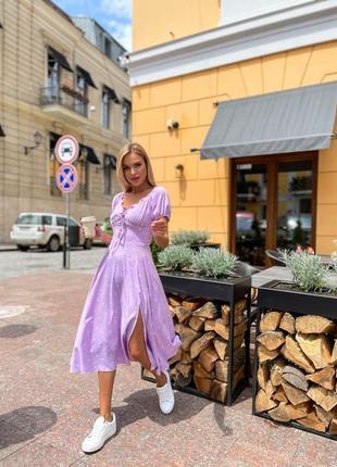 Платье женское миди повседневное свободное с короткими рукавами  в горошек софт