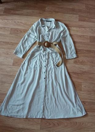 Платье миди на пуговицах в полоску, 100% вискоза1 фото
