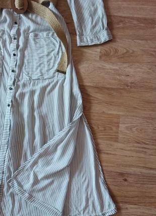 Платье миди на пуговицах в полоску, 100% вискоза6 фото