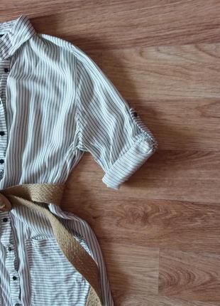 Платье миди на пуговицах в полоску, 100% вискоза7 фото