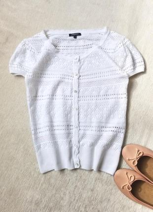 Ажурная котоновая летняя блуза топ белоснежная