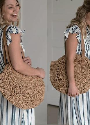 Летняя пляжная сумка вязаная плетёная капучино