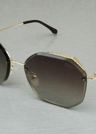 Christian dior очки женские солнцезащитные серо коричневый градиент в золотом металле