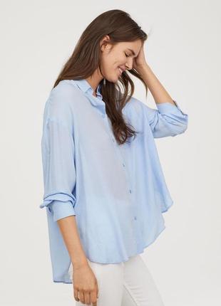 Новая легкая натуральная рубашка оверсайз h&m