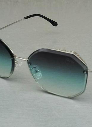 Christian dior очки женские солнцезащитные сине голубой градиент в серебристом металле