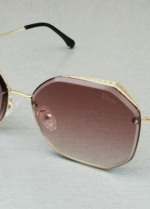 Christian dior очки женские солнцезащитные коричнево бежевый градиент в золотом металле