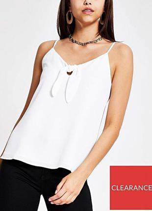 Стильная белая блуза топ на бретельках с узлом спереди р.18