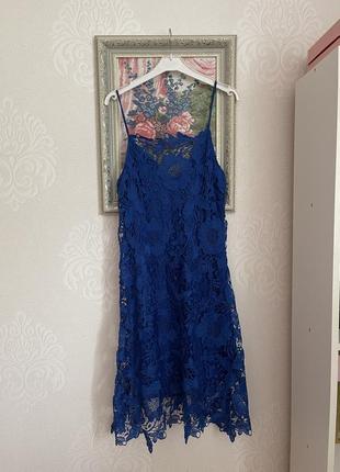 Zara basic платье кружево синее s, 36