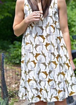 Новое с биркой платье колокольчик в принт аллигаторы h&m размер 14