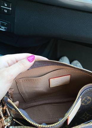 Кожаная коричневая сумочка клатч на цепочке с чёрным ремешком6 фото