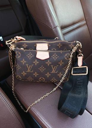 Кожаная коричневая сумочка клатч на цепочке с чёрным ремешком8 фото