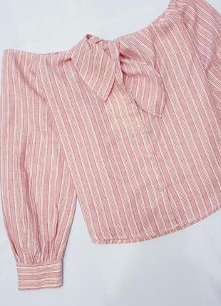 Free people льняная блуза блузка натуральный лен рукава буфы m льон в полоску