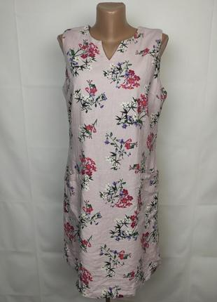 Платье новое красивое цветочное льняное uk 12/40/m