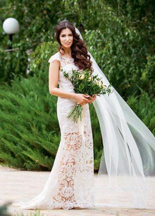 2 в 1 вечернее свадебное платье + пышная юбка трансформер vasylkov мокко, капучино, пудра