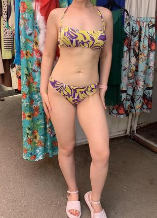 Купальник принтовый фиолетовый купальник раздельный желтый купальник