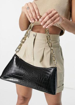 Красива чорна сумка багет від asos у тваринний принт🔥