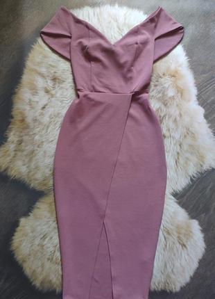 Фактурное платье миди с передним разрезом