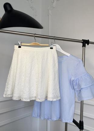 Белая, гипюровая юбка 49% хлопок