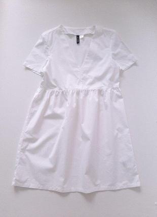 Платье белое хлопок h&m р.xxs 155/76 а