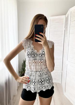 Вязаный белый топ футболка майка