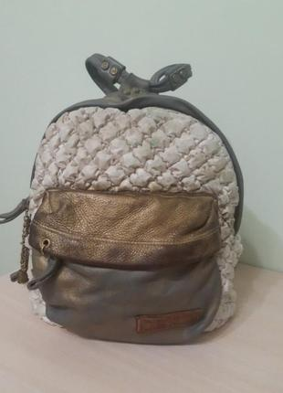 Итальянский кожаний рюкзак, кожа/котон elisa cavaletti