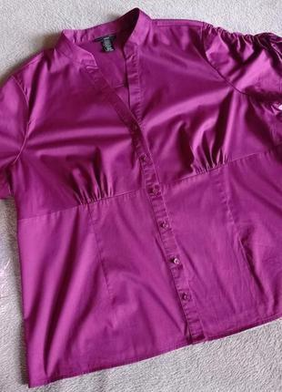 Натуральная яркая блуза большой размер батал фуксия
