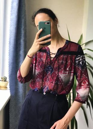 Шифоновая блуза абстрактный принт s.oliver zara mango hm