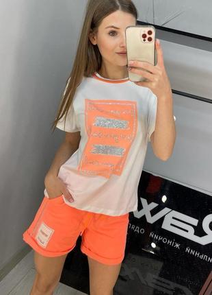 Оранжевый суперяркий летний костюм raw по самой низкой цене