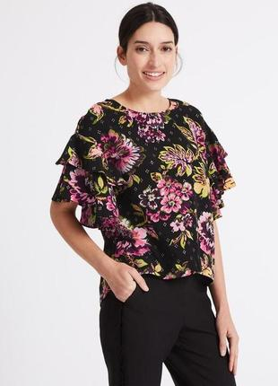 Блуза красивая шикарная цветочная marks&spencer uk 16/44/xl