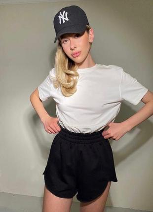 Костюм спортивный прогулочный двойка шорты футболка майка чёрный белый