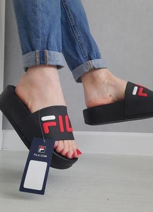 Женские шлепки на высокой платформе. сланцы, босоножки, вьетнамки, сандалии пляжные черные