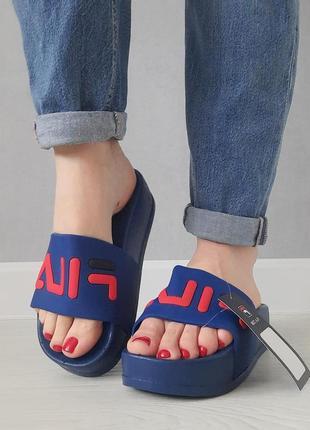 Женские шлепки на высокой платформе. сланцы, босоножки, вьетнамки, сандалии пляжные синие