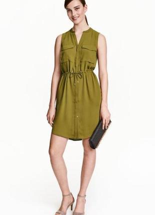 Оливкове плаття-сорочка з  кишенями