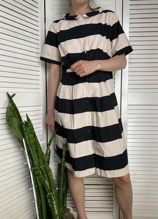 Платье-рубашка в горизонтальную широкую полоску чёрного и бежевого цвета. сукня. плаття