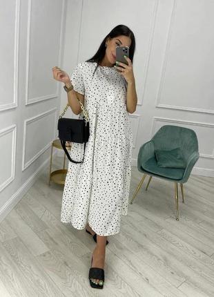 Женское платье, платье миди, платье в горошек
