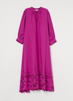 Платье кафтан с вышивкой в пол h&m conscious