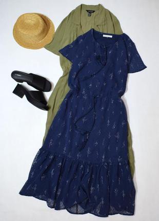 Чарівне синє плаття міді з принтом
