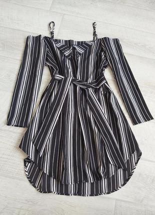 Платье- рубашка в полоску пляжное платье под пояс