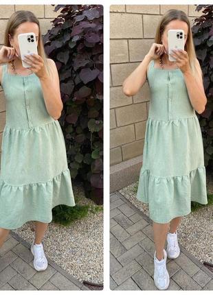 Платье, лен, 3 цвета