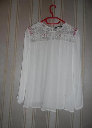 Блуза бежевая  с кружевом / длинный рукав /жатка/ размер 36// s вискоза-хлопок