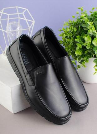 Мужские черные туфли мокасины