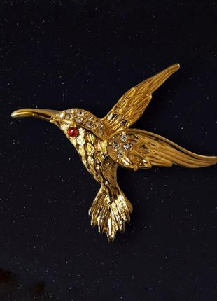 Брошь винтажная колибри птица с стразами камни
