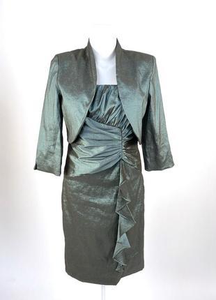 Костюм r&m richards, платье + жакет, цвет зеленоватый