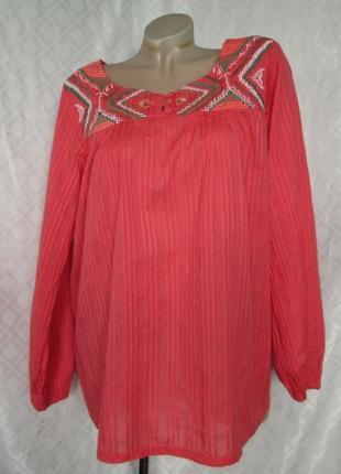 Вышиванка bon`a parte m-l 16/42 бренд дания хлопок женская коралловая блуза рубашка вишиванка б/у