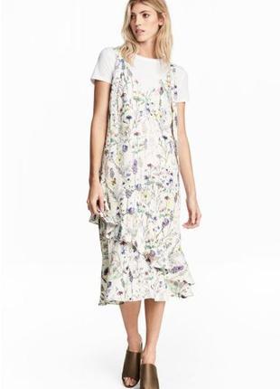 Шикарное платье миди в цветочый ринт от h&m